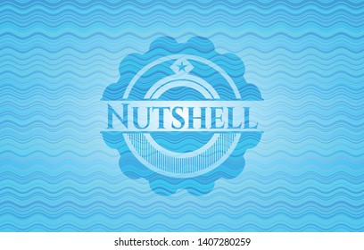 Nutshell water emblem. Vector Illustration. Detailed.