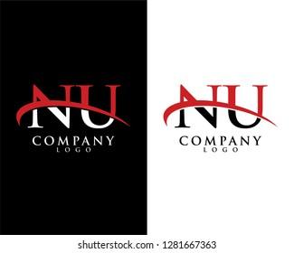 nu/un initial letter logotype company logo swoosh design vector