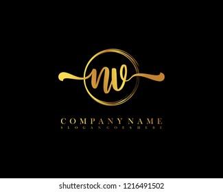 NV initial handwriting logo circle template vector