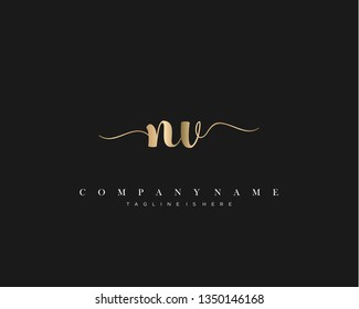 NV initial handwriting logo template with luxury color vector