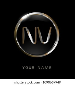 NV initial letters with circle elegant logo golden silver black background