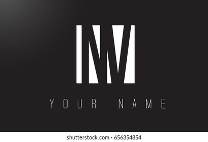NV Letter Logo With Black and White Letters Negative Space Design.
