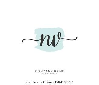 NV N V Initial handwriting logo template