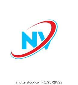 NV N V letter logo design. Initial letter NV linked circle uppercase monogram logo red and blue. NV logo, N V design. nv, n v