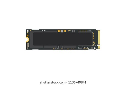 NVMe M.2 PCI-Express (PCI-E) Solid State Drive (SSD) with blank label sticker Mock Up.Isolate on white sceen.