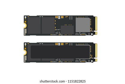 NVMe M.2 PCI-Express (PCI-E) Solid State Drive (SSD) Mock Up.Isolate on white sceen.