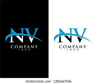 nv/vn initial letter logotype company logo swoosh design vector