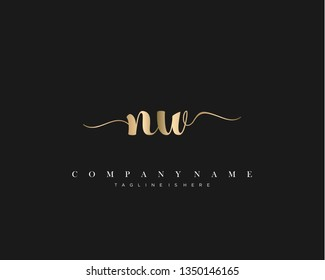 NW initial handwriting logo template with luxury color vector