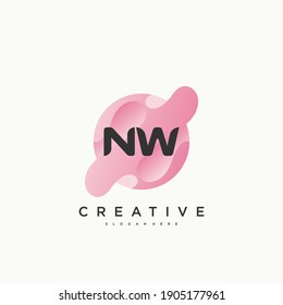 NW Initial Letter logo icon design template elements with wave colorful art.