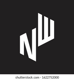 NW Initial Letters logo monogram with up to down style
