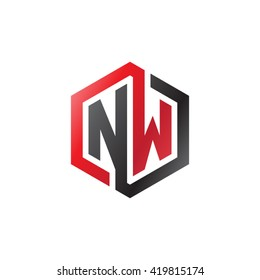 NW initial letters looping linked hexagon logo black red