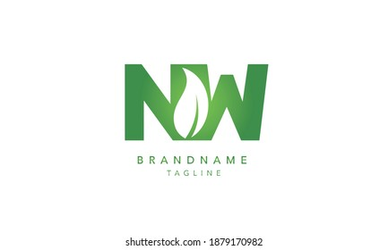 NW leaf organic Alphabet initial Letter Monogram Icon Logo vector illustration