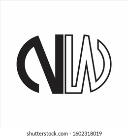 NW Letter logo monogram with oval shape negative space design template white background