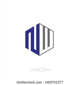 NW Logo Initial Monogram Negative Space Design Template With Blue Navy and Grey color