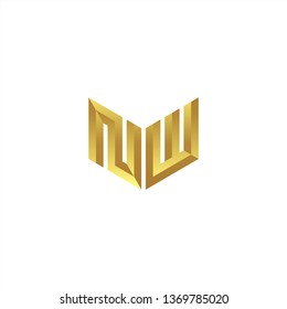 NW Logo letter initial 3d designs templete with gold colors