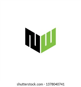 NW Logo Letter Initial With Black and Green Colors