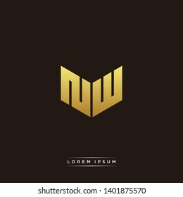 NW Logo Letter Initial Logo Designs Templete with Gold and Black Background