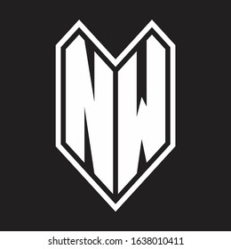 NW Logo monogram with emblem line style isolated on black background