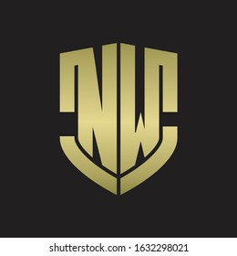 NW Logo monogram with emblem shield shape design isolated gold colors on black background