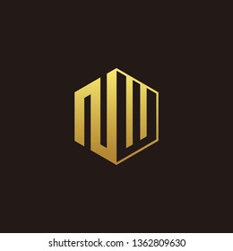 NW Logo Monogram with Negative space gold colors