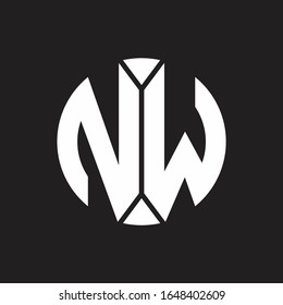 NW Logo monogram with piece circle ribbon style
