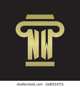 NW Logo monogram with pillar style design template with gold colors