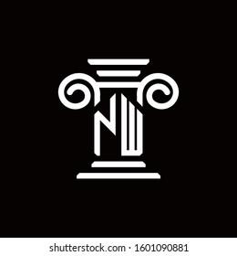 NW monogram logo with pillar style design template