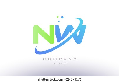nw n w alphabet green blue swoosh letter company logo vector icon design template