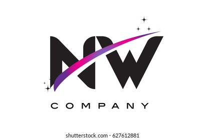 NW N W Black Letter Logo Design with Purple Magenta Swoosh and Stars.