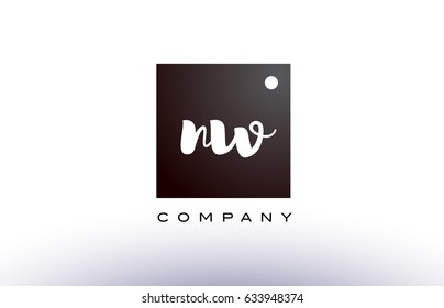 NW N W black white handwritten handwriting alphabet company letter logo square design template dot dots creative abstract