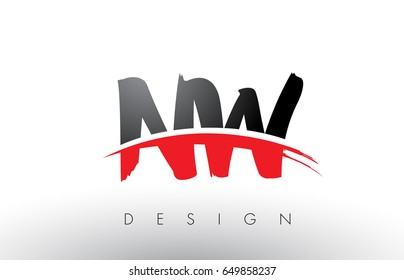 NW N W Brush Logo Letters Design with Red and Black Colors and Brush Letter Concept.