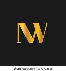 NW or N W letter alphabet logo design in vector format.