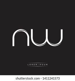 nw n w logo Initial Letter Split Lowercase Modern Style
