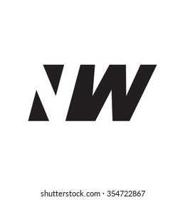 NW negative space letter logo