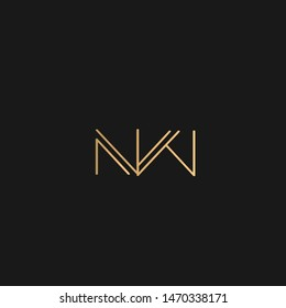 NW or WN logo vector. Initial letter logo, golden text on black background