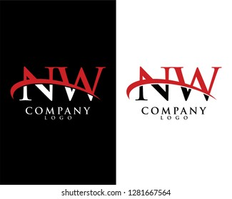 nw/wn initial letter logotype company logo swoosh design vector