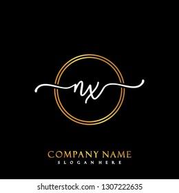 NX Initial Handwriting logo template vector