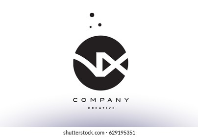 NX N X alphabet company letter logo design vector icon template simple black white circle dot dots creative abstract