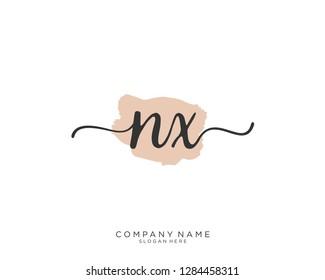 NX N X Initial handwriting logo template
