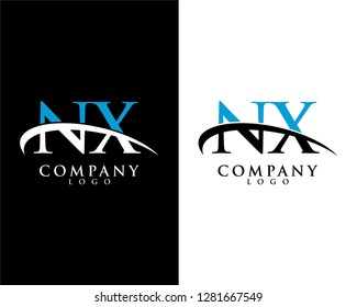 nx/xn initial letter logotype company logo swoosh design vector