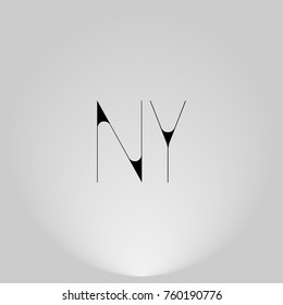 NY Black thin minimalist LOGO Design with Highlight on Gray background.