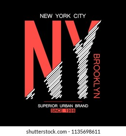 NY, Brooklyn modern typography for t-shirt. New York graphics for tee shirt. NYC urban brand trendy apparel print, athletic clothes design. Vector illustration.