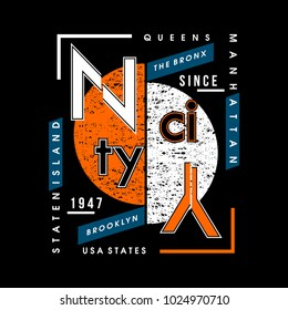 NY city typography t shirt design, vector element illustration graphic artistic urban street casual wear