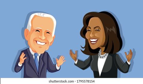 N.Y., U.S. August 14, 2020, Joe Biden and Kamala Harris  Caricature