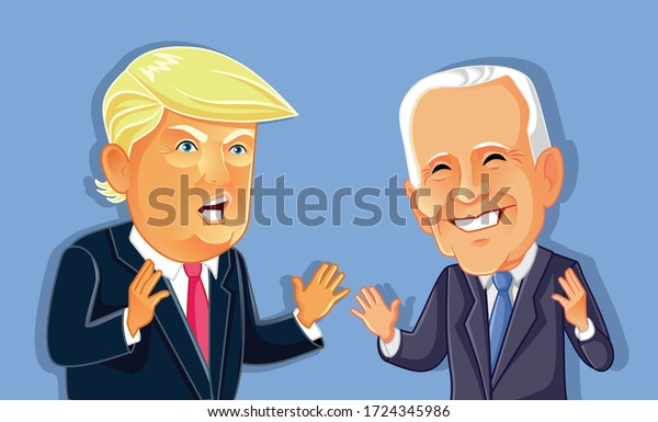 NY, USA, May 7, Donald Trump Versus Joe Biden. Vector drawing of presidential candidates for 2020 American Elections
