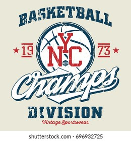 NYC Basketball Champs - Tee Design For Print
