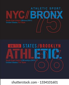 NYC Bronx typography designs, set for t-shirt print and other uses. Varsity style design graphics.