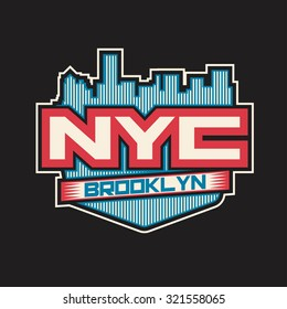 NYC Brooklyn. College New York typography, T-shirt design, graphics. Logo, label, symbol.Typography. Sport.