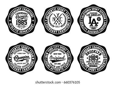 NYC college graphic set, varsity emblem, sport typography, t-shirt graphics, vectors