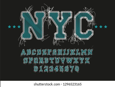 NYC font vector embroidery string stitched with thread, alphabet letters and numbers stitch and fabric design.—vector illustration